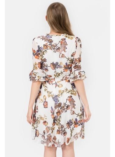 İroni Çiçekli Şifon Elbise Ekru